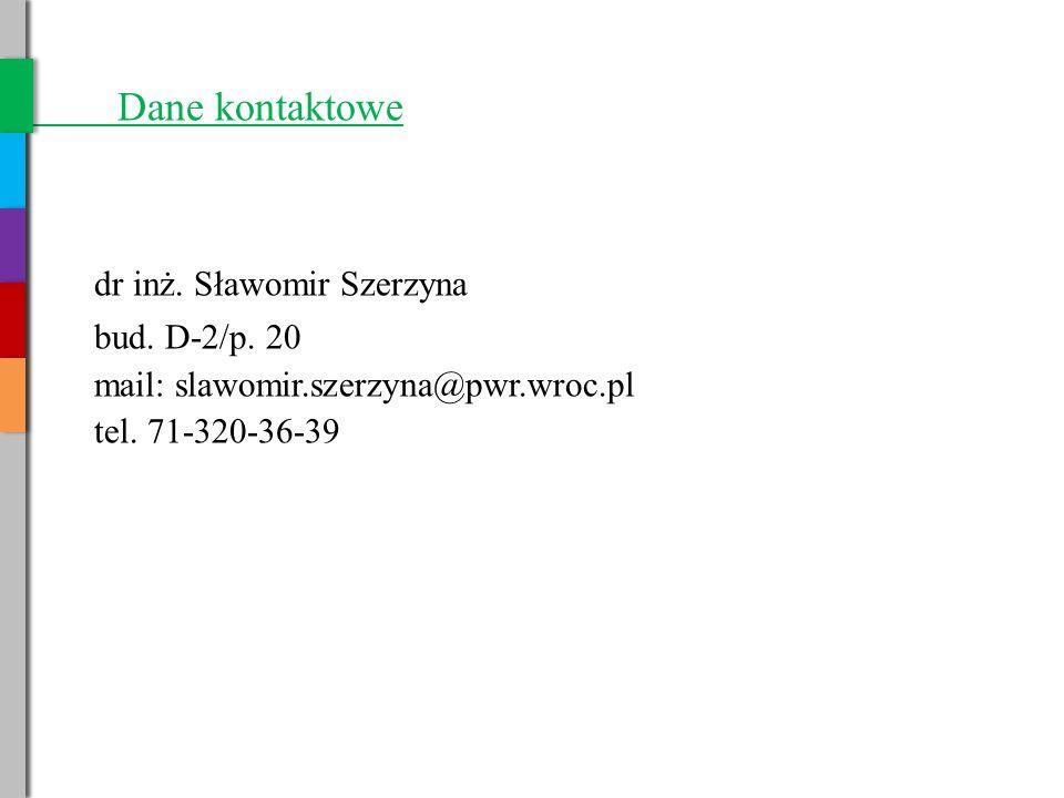 Dane kontaktowe dr inż. Sławomir Szerzyna bud. D-2/p. 20
