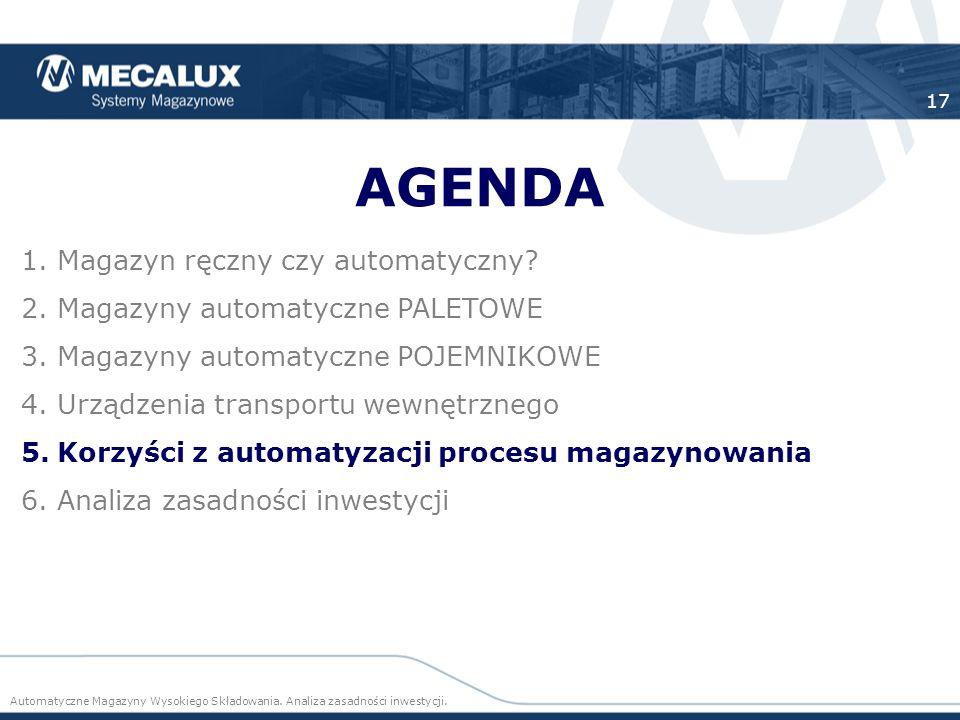 AGENDA Magazyn ręczny czy automatyczny Magazyny automatyczne PALETOWE