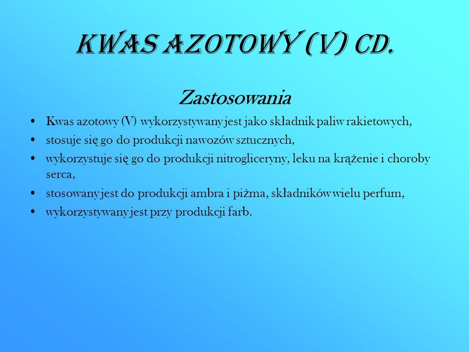 Kwas azotowy (V) CD. Zastosowania