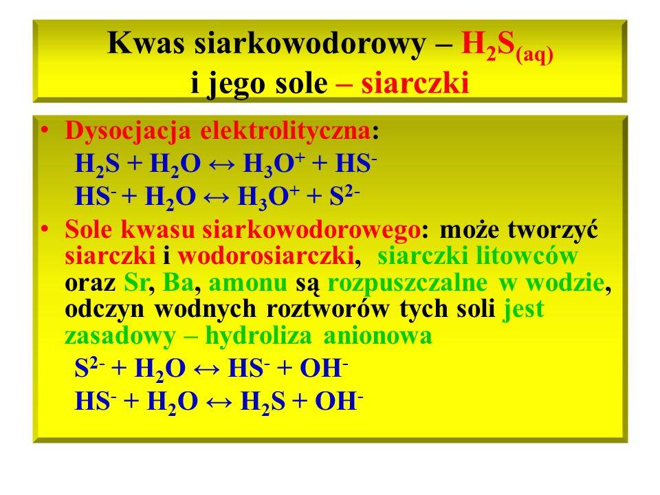 Kwas siarkowodorowy – H2S(aq) i jego sole – siarczki