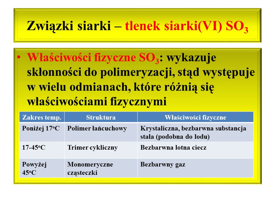 Związki siarki – tlenek siarki(VI) SO3