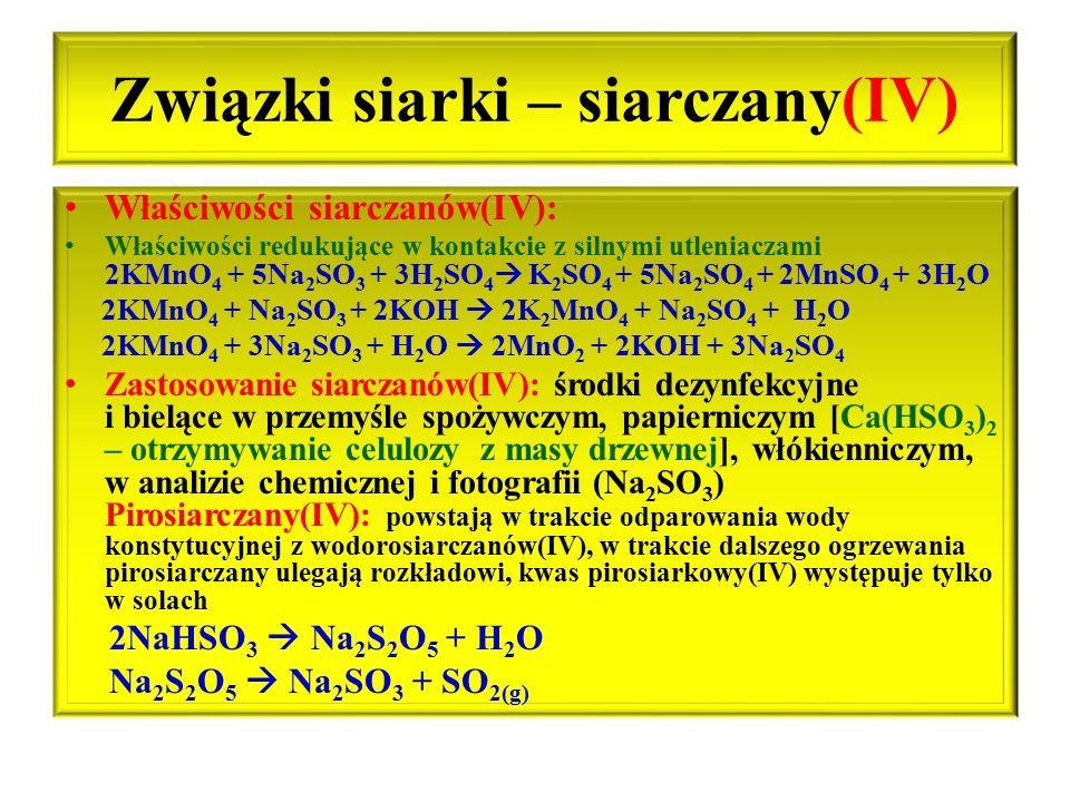 Związki siarki – siarczany(IV)