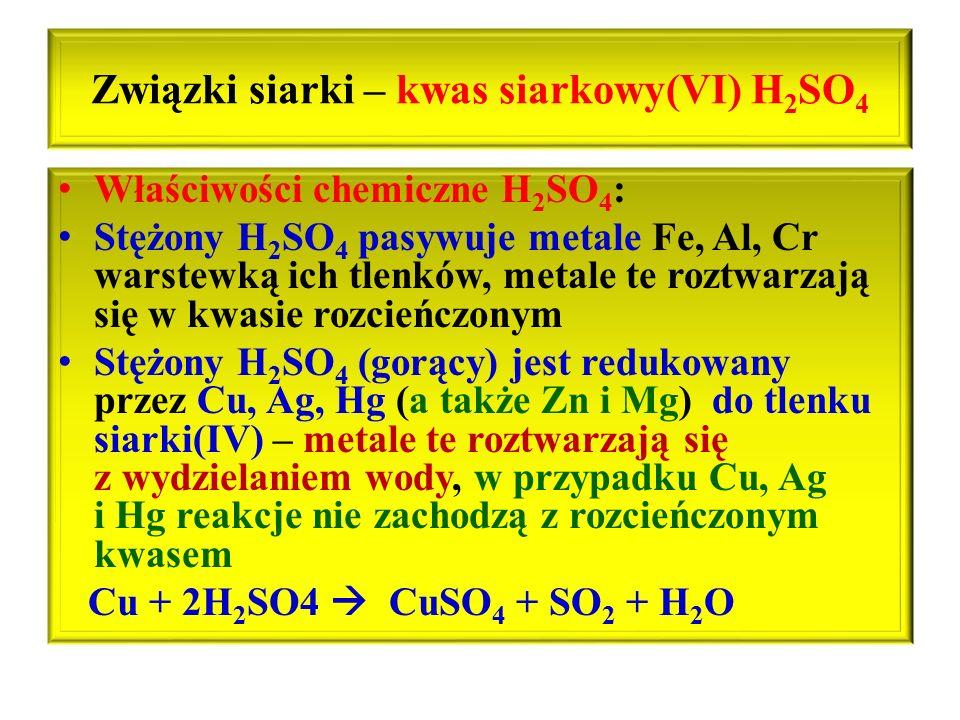 Związki siarki – kwas siarkowy(VI) H2SO4
