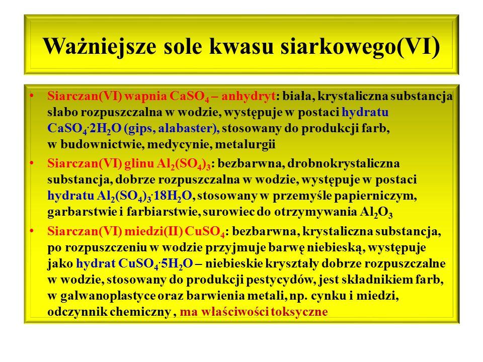 Ważniejsze sole kwasu siarkowego(VI)
