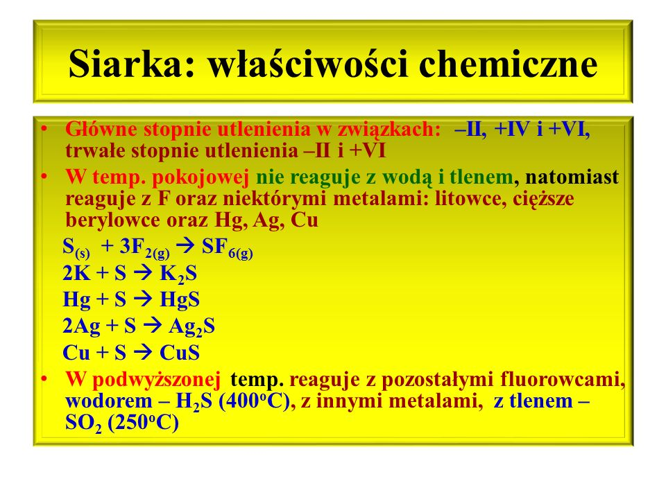 Siarka: właściwości chemiczne