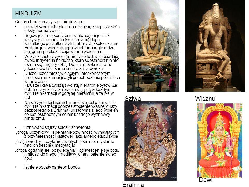 Sziwa Wisznu Dewi Brahma HINDUIZM Cechy charakterystyczne hinduizmu :