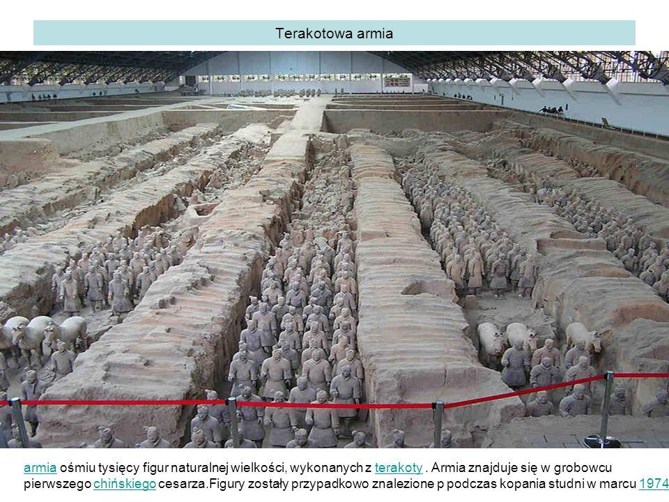 Terakotowa armia armia ośmiu tysięcy figur naturalnej wielkości, wykonanych z terakoty . Armia znajduje się w grobowcu.