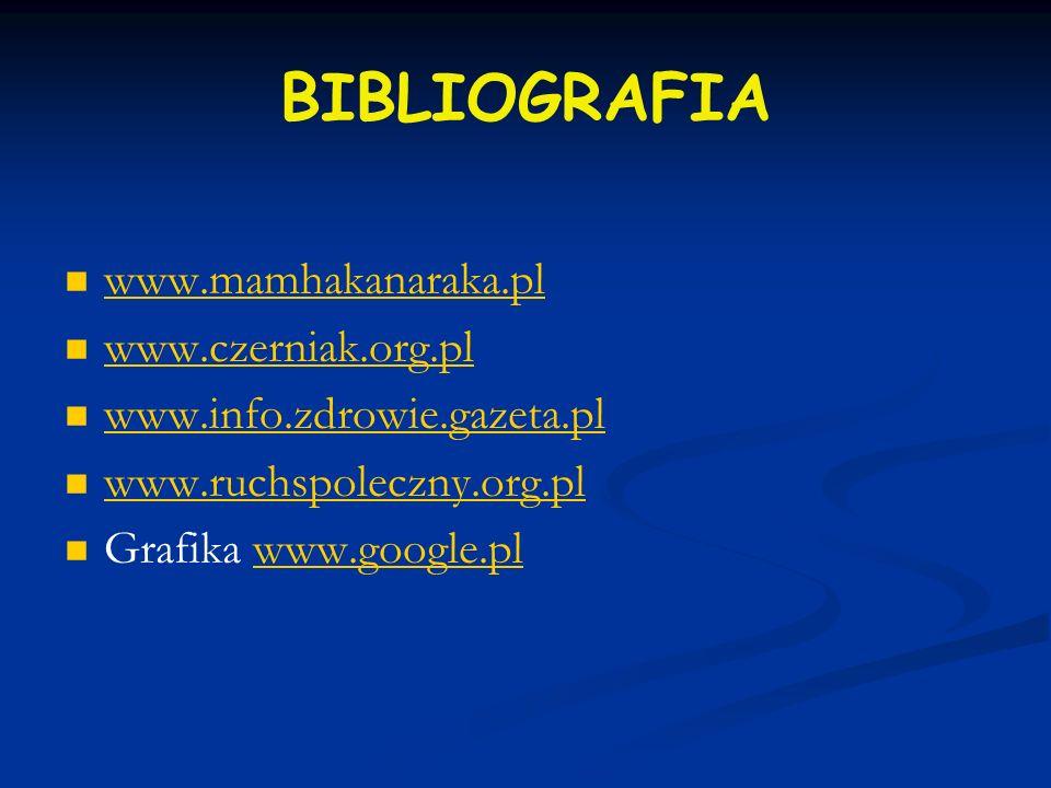 BIBLIOGRAFIA www.mamhakanaraka.pl www.czerniak.org.pl