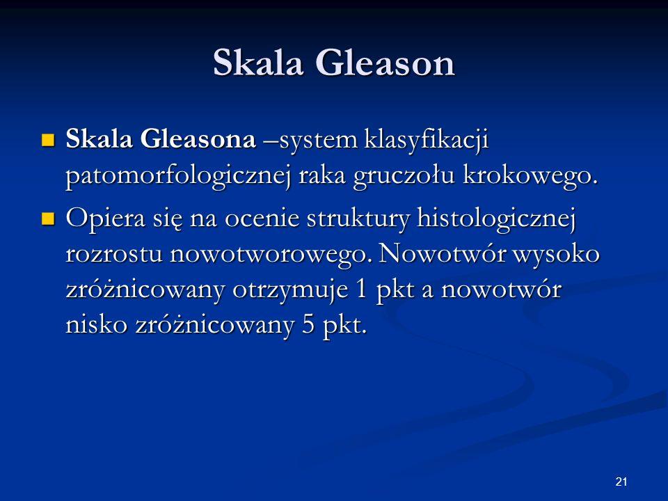 Skala Gleason Skala Gleasona –system klasyfikacji patomorfologicznej raka gruczołu krokowego.