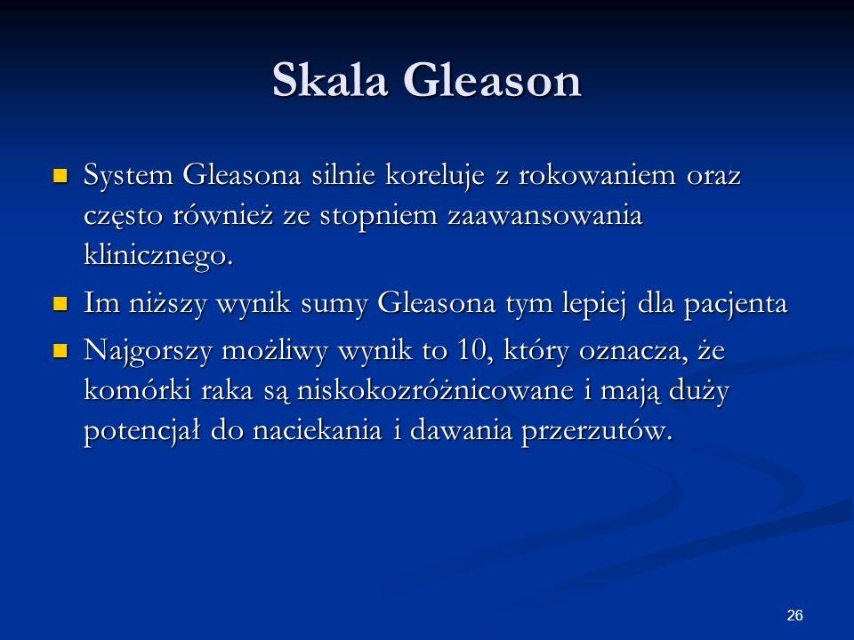 Skala Gleason System Gleasona silnie koreluje z rokowaniem oraz często również ze stopniem zaawansowania klinicznego.