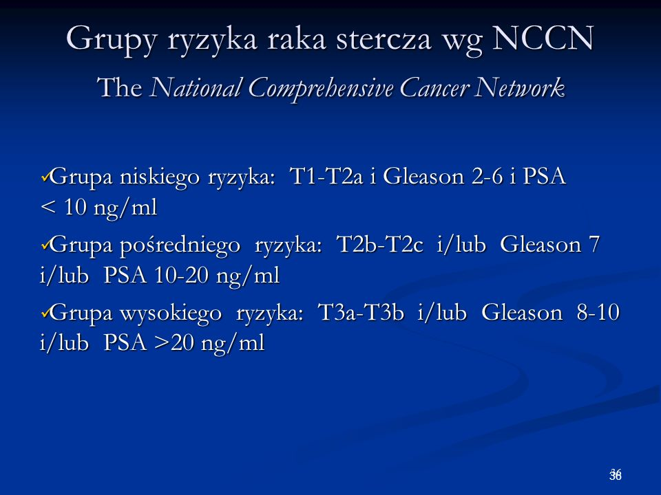 Grupy ryzyka raka stercza wg NCCN The National Comprehensive Cancer Network