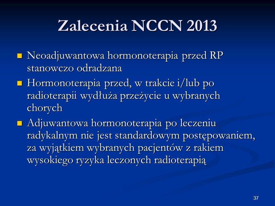 Zalecenia NCCN 2013 Neoadjuwantowa hormonoterapia przed RP stanowczo odradzana.