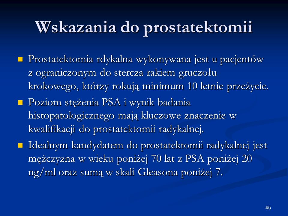 Wskazania do prostatektomii