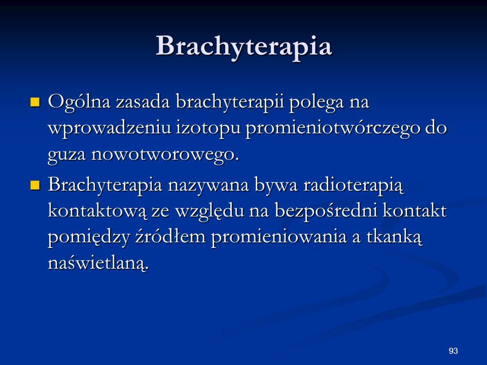 Brachyterapia Ogólna zasada brachyterapii polega na wprowadzeniu izotopu promieniotwórczego do guza nowotworowego.
