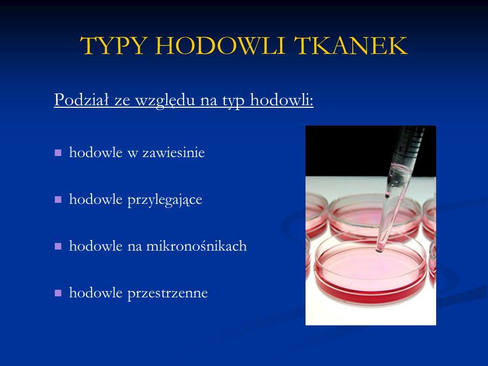 TYPY HODOWLI TKANEK Podział ze względu na typ hodowli:
