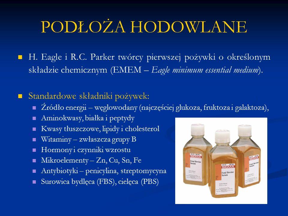 PODŁOŻA HODOWLANE H. Eagle i R.C. Parker twórcy pierwszej pożywki o określonym składzie chemicznym (EMEM – Eagle minimum essential medium).