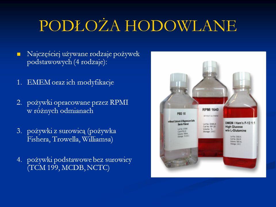 PODŁOŻA HODOWLANE Najczęściej używane rodzaje pożywek podstawowych (4 rodzaje): 1. EMEM oraz ich modyfikacje.