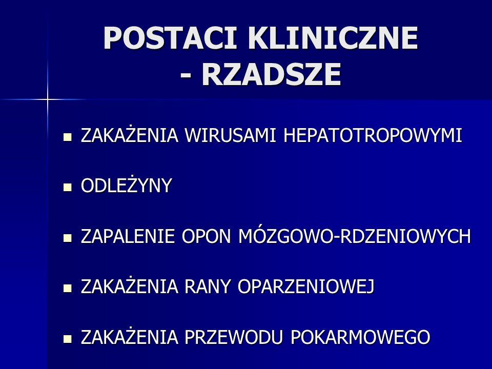 POSTACI KLINICZNE - RZADSZE
