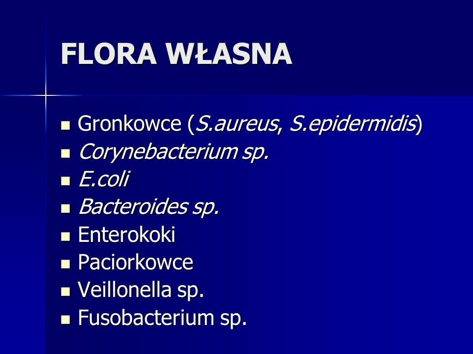 FLORA WŁASNA Gronkowce (S.aureus, S.epidermidis) Corynebacterium sp.