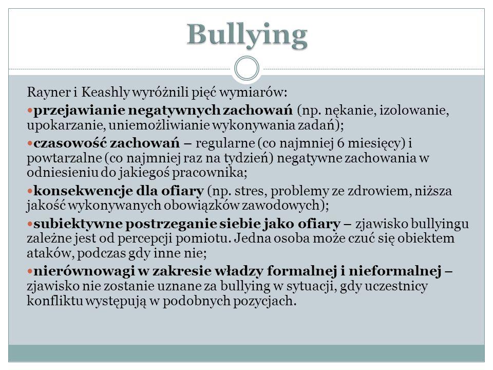 Bullying Rayner i Keashly wyróżnili pięć wymiarów:
