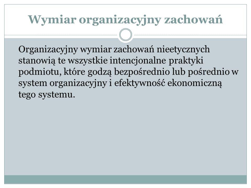 Wymiar organizacyjny zachowań
