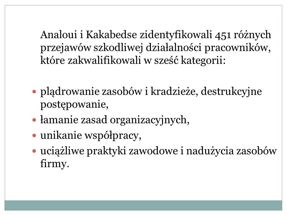 Analoui i Kakabedse zidentyfikowali 451 różnych przejawów szkodliwej działalności pracowników, które zakwalifikowali w sześć kategorii: