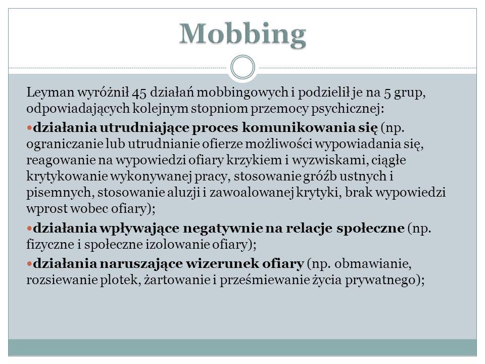 Mobbing Leyman wyróżnił 45 działań mobbingowych i podzielił je na 5 grup, odpowiadających kolejnym stopniom przemocy psychicznej: