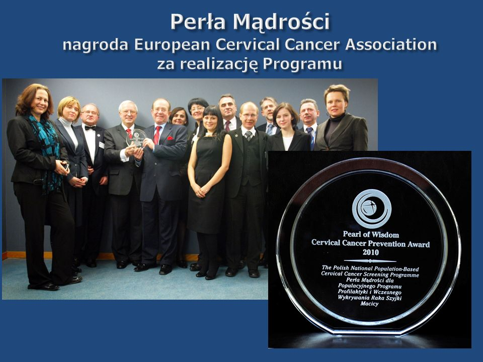 Perła Mądrości nagroda European Cervical Cancer Association za realizację Programu