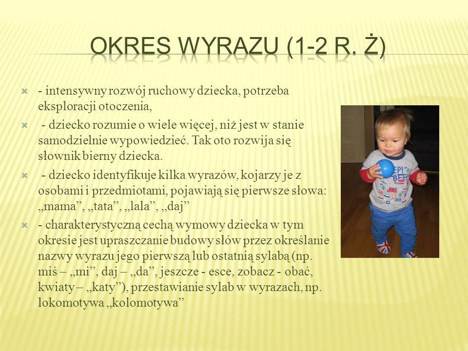 Okres wyrazu (1-2 r. ż) - intensywny rozwój ruchowy dziecka, potrzeba eksploracji otoczenia,