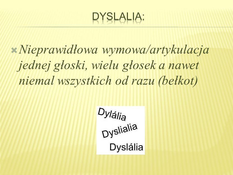 Dyslalia: Nieprawidłowa wymowa/artykulacja jednej głoski, wielu głosek a nawet niemal wszystkich od razu (bełkot)