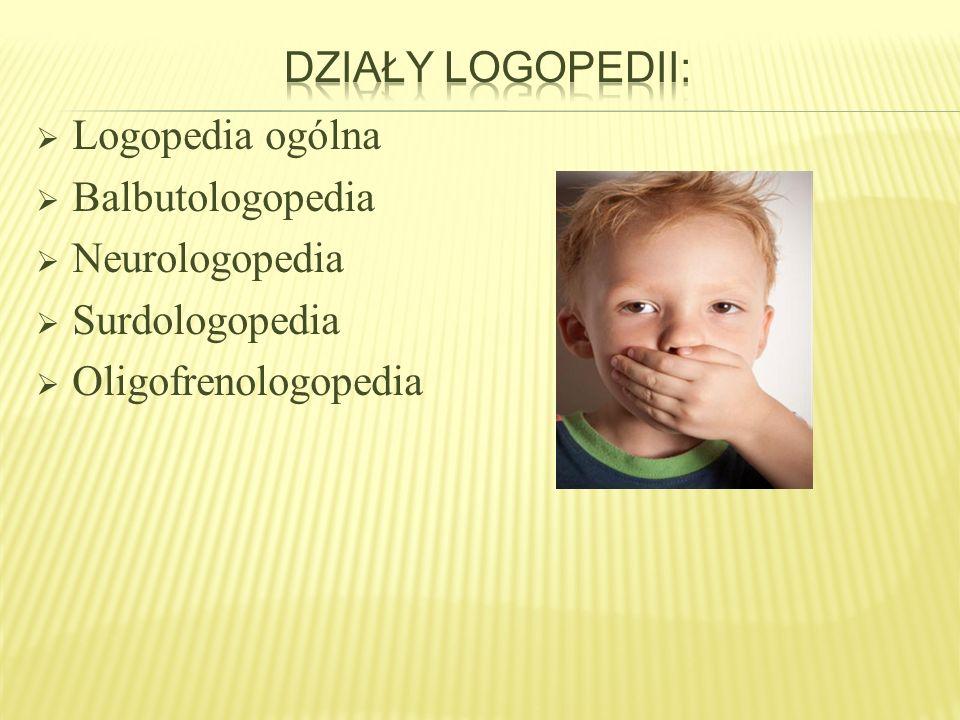 Działy logopedii: Logopedia ogólna. Balbutologopedia.