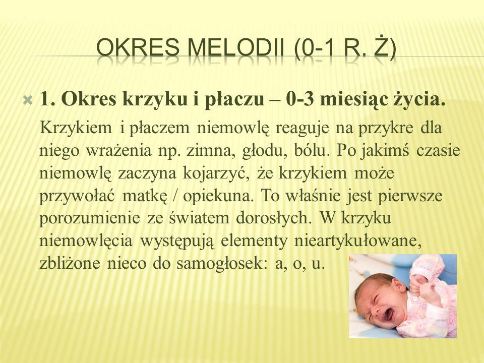 Okres melodii (0-1 r. ż) 1. Okres krzyku i płaczu – 0-3 miesiąc życia.