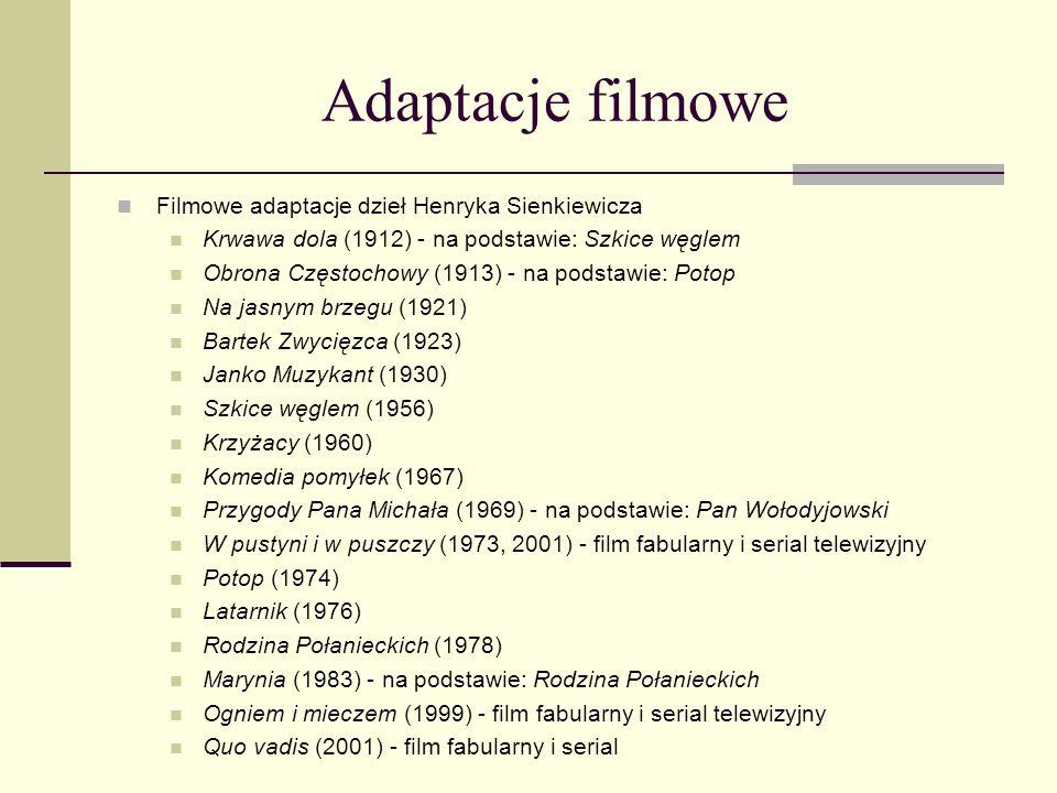 Adaptacje filmowe Filmowe adaptacje dzieł Henryka Sienkiewicza