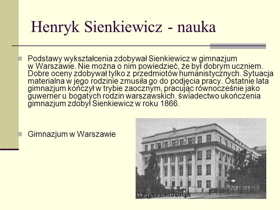 Henryk Sienkiewicz - nauka