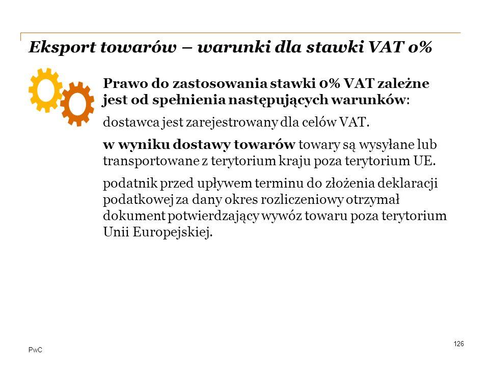 Eksport towarów – warunki dla stawki VAT o%
