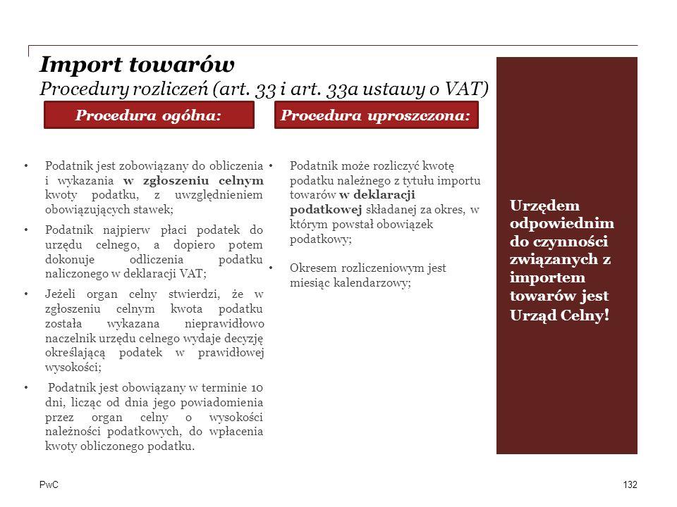 Import towarów Procedury rozliczeń (art. 33 i art. 33a ustawy o VAT)