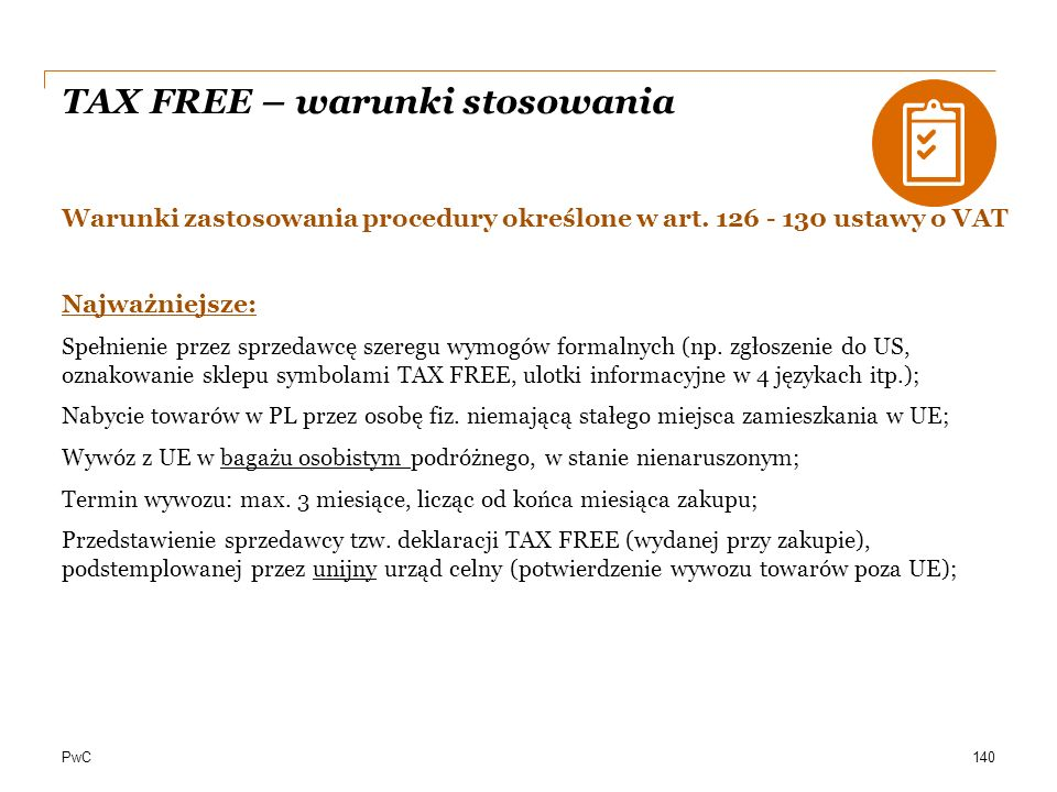 TAX FREE – warunki stosowania