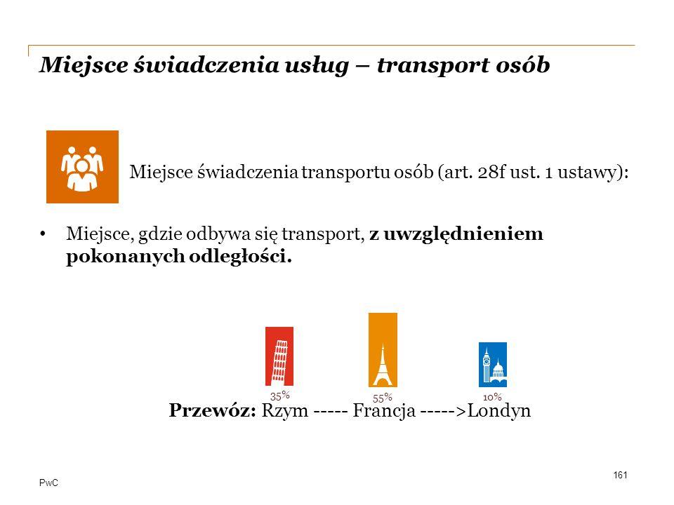 Miejsce świadczenia usług – transport osób