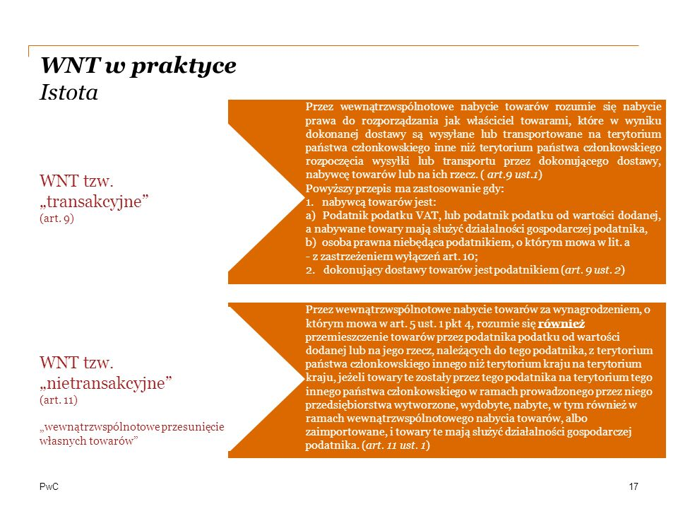 """WNT w praktyce Istota WNT tzw. """"transakcyjne"""