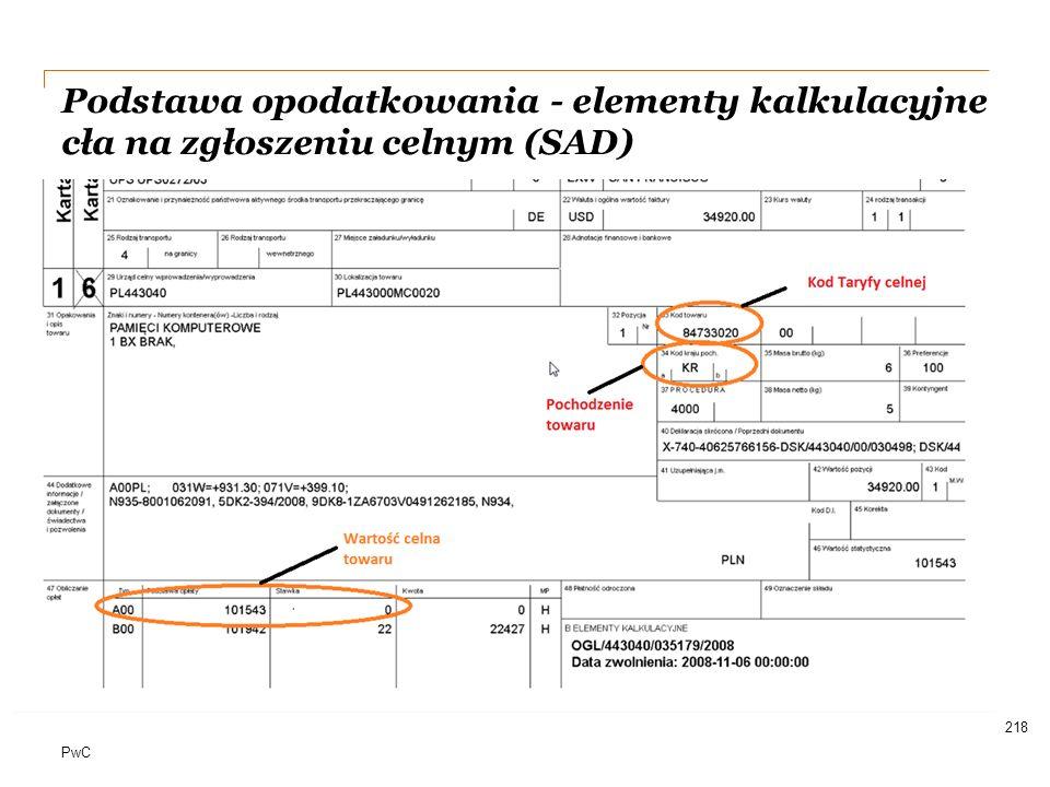 Date Podstawa opodatkowania - elementy kalkulacyjne cła na zgłoszeniu celnym (SAD)