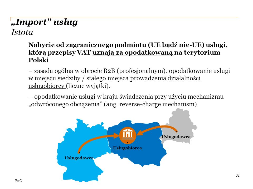 """""""Import usług Istota Nabycie od zagranicznego podmiotu (UE bądź nie-UE) usługi, którą przepisy VAT uznają za opodatkowaną na terytorium Polski."""