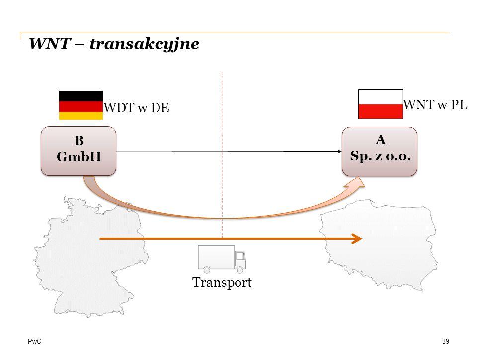 WNT – transakcyjne WNT w PL WDT w DE B GmbH A Sp. z o.o. Transport