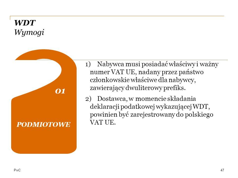 WDT Wymogi PODMIOTOWE. 01. 02. 04.