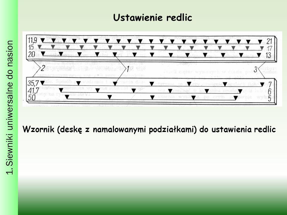 Wzornik (deskę z namalowanymi podziałkami) do ustawienia redlic