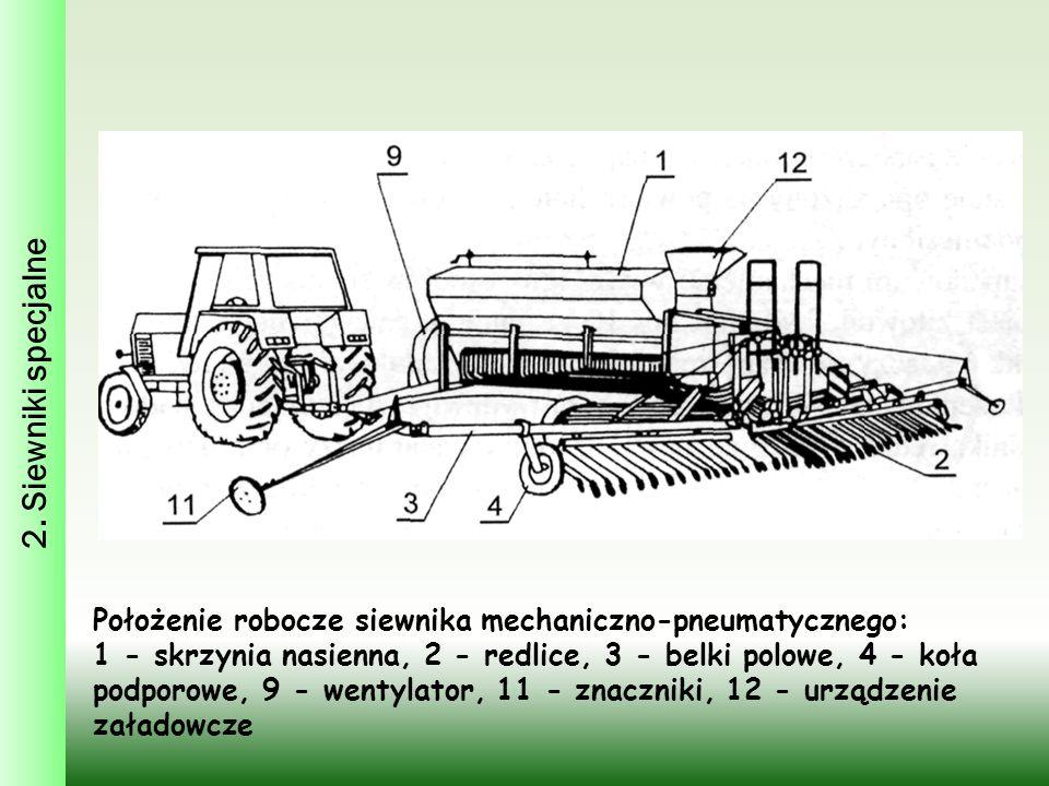 2. Siewniki specjalne Położenie robocze siewnika mechaniczno-pneumatycznego: