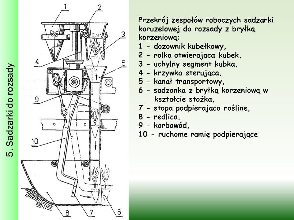 5. Sadzarki do rozsady Przekrój zespołów roboczych sadzarki karuzelowej do rozsady z bryłką korzeniową: