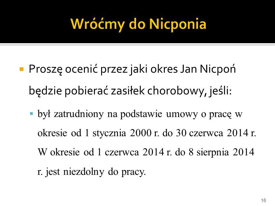 Wróćmy do Nicponia Proszę ocenić przez jaki okres Jan Nicpoń będzie pobierać zasiłek chorobowy, jeśli: