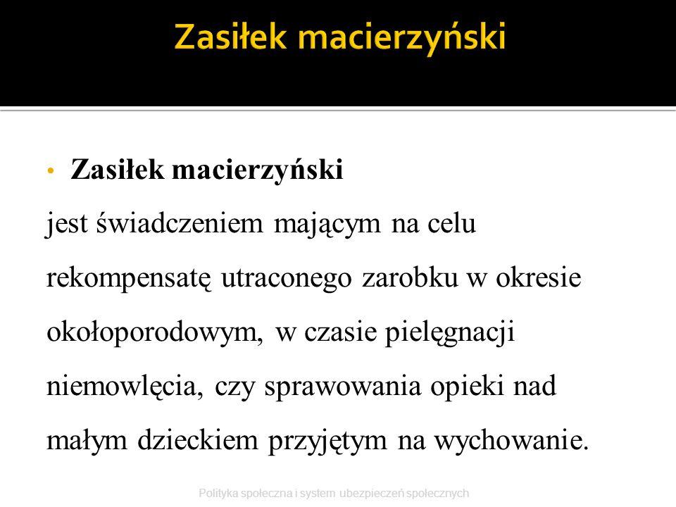 Zasiłek macierzyński Zasiłek macierzyński