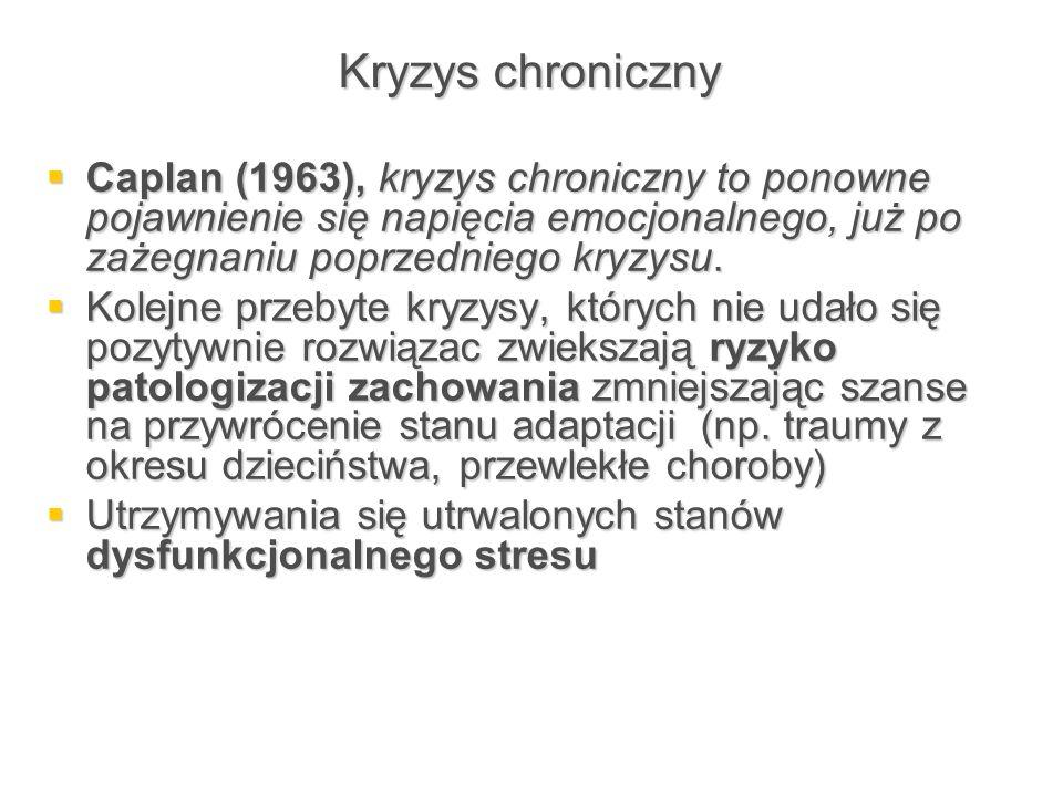 Kryzys chroniczny Caplan (1963), kryzys chroniczny to ponowne pojawnienie się napięcia emocjonalnego, już po zażegnaniu poprzedniego kryzysu.