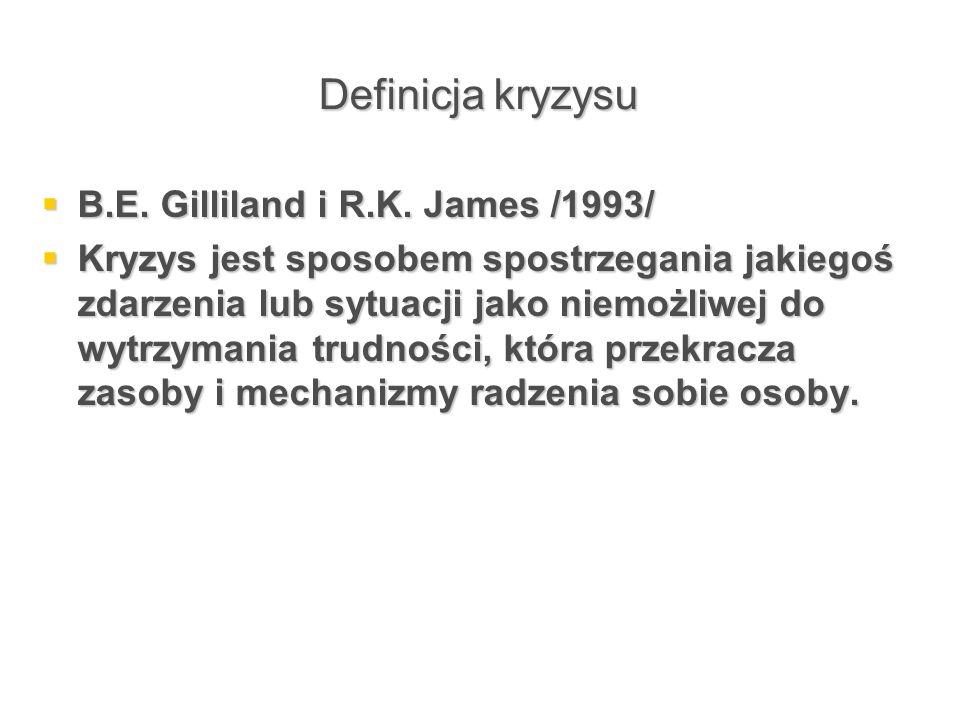 Definicja kryzysu B.E. Gilliland i R.K. James /1993/